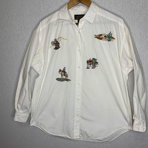 Vintage Eddie Bauer button up embroidered shirt